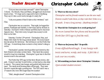 FUN FICTION Christopher Columbus Fluency and Reading Comprehension Passage