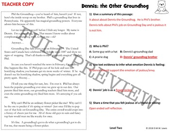 Groundhog's Day Activities: Groundhog's Day Reading Comprehension Passage