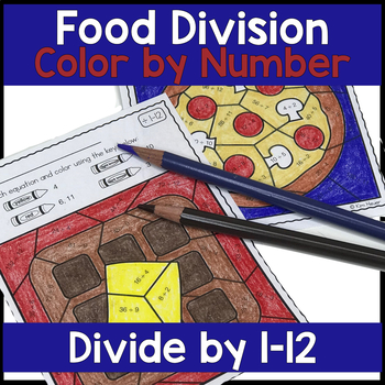 FUN FOOD Division Color by Number Coloring Pages Divide by 2-12