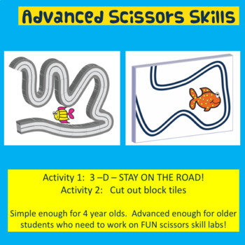 FUN! Fine Motor: 3-D Advanced Scissors Skills (SEA ANIMAL THEMED)