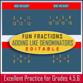 Adding Fractions with Common Denominators! / EDITABLE + Audio /75-Slides