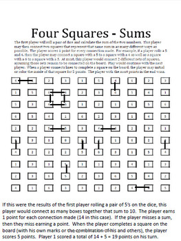Sums of Numbers (CCSS 1.OA.C and CCSS 2.OA.A, 2.OA.B) Fun Game