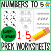 Numbers 1-5. Basic Math worksheets, fun and engaging