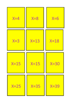 FUN-Math Memory Game Simple Algebra Equations