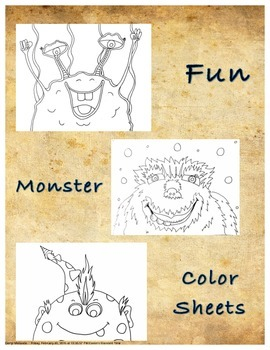 FUN Monsters Color Sheet 3 pack