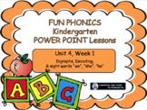 FUN PHONICS Kindergarten Power Point Lessons KINDERGARTEN Unit 4 Week 1