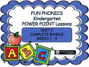 FUN PHONICS kindergarten POWER POINT LESSONS!  UNIT 2, COMPLETE BUNDLE (ALL 4 We