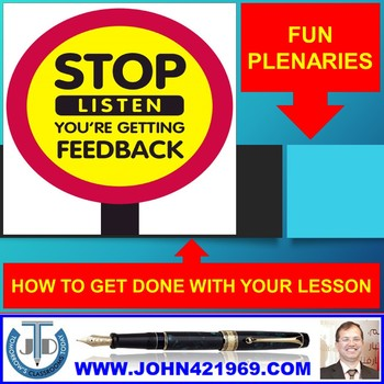 FUN PLENARIES TO GET DONE WITH A LESSON: PRESENTATION