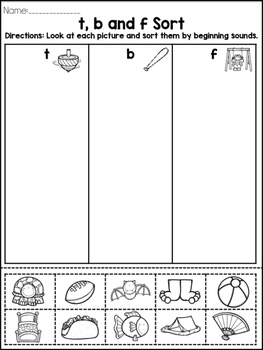 FUN Phonics Sound Sorts: Unit 1 Kindergarten