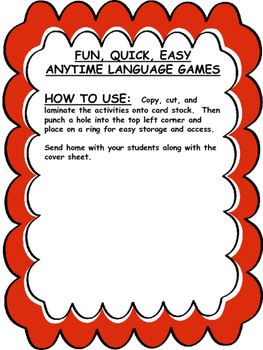 FUN, QUICK, EASY ANYTIME LANGUAGE GAMES