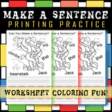 #1 FUN SENTENCE BUILDING WORKSHEET! GREAT PRINTING PRACTIC