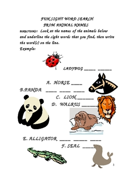 FUN SIGHT WORD SEARCH FROM ANIMAL NAMES