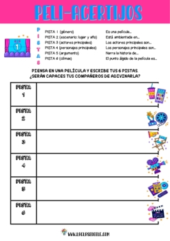 EL CINE: FUN SPANISH MOVIE PACK TO PRACTICE VOCABULARY AND MOVIE DESCRIPTIONS