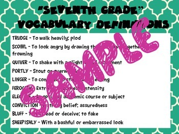 """FUN! """"Seventh Grade"""" Vocabulary PowerPoint and Word Wall Posters *Editable*"""