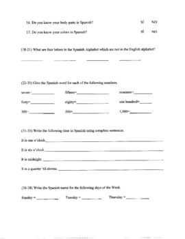 FUN Spanish Pre-Evaluation (beginning of year)