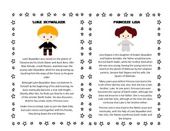 FUN Star Wars Point of View Worksheets & Character Cards ~ 3rd ELA CCSS