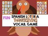 Día de Acción de Gracias Vocabulary Bingo Game Lotería for