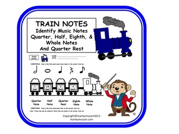 FUN TRAIN WORKSHEET--MUSIC NOTES!!! w Answer Key GREAT FOR SUBS!!!