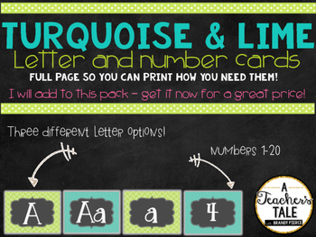 FUN Turquoise and Lime Decor Pack - Alphabet Cards/Numbers!