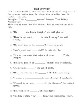 FUN WITH ADVERBS-TOM SWIFTLIES 2