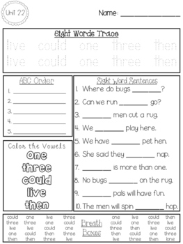 FUN WITH SIGHT WORDS * First Grade * WONDERS * Unit 2