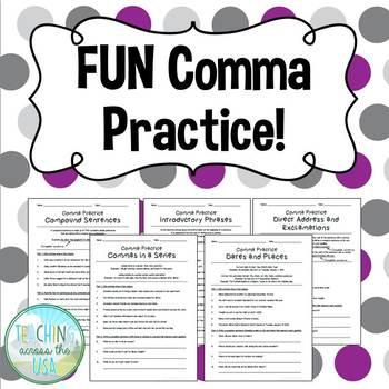 FUN comma practice worksheets!
