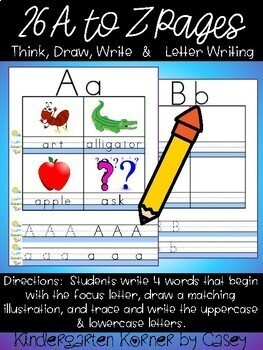 FUN with Letters Work on Writing A Think Draw Write and Alphabet Writing Center