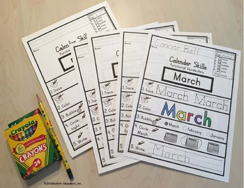 FUNCTIONAL Calendar VOCABULARY Worksheets with DATA for AUTISM and Special Ed