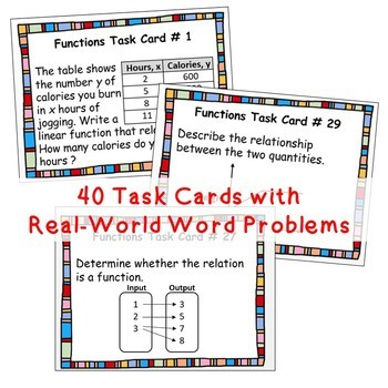 FUNCTIONS BUNDLE - Task Cards, Error Analysis, Graphic Organizers, Fun Puzzles
