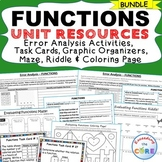 FUNCTIONS BUNDLE - Task Cards, Error Analysis, Graphic Org