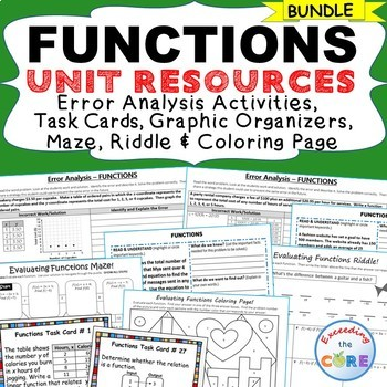 FUNCTIONS BUNDLE - Error Analysis, Graphic Organizers, Puz