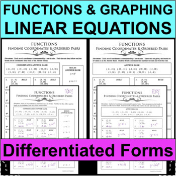 FUNCTIONS Finding Coordinates Ordered Pairs RULES Differentiated! 2 Forms!