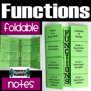 FUNCTIONS Foldable Notes Interactive Notebook