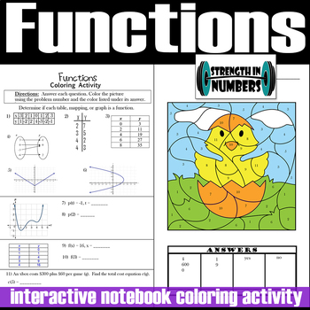 FUNCTIONS Interactive Notebook Easter Chick Coloring Activity