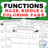FUNCTIONS Maze, Riddle, & Color by Number (Fun MATH Activities)