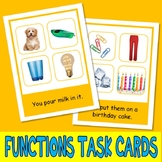 FUNCTIONS PHOTO TASK CARDS inferences autism aba speech therapy pecs activity