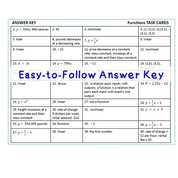 FUNCTIONS - Task Cards {40 Cards}