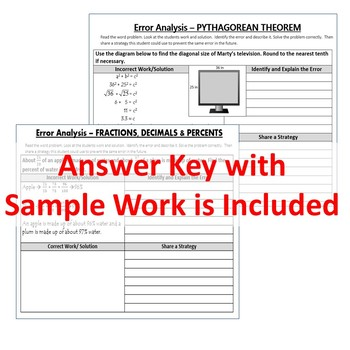 6th, 7th, 8th Grade Math ERROR ANALYSIS BUNDLE Find the Error -Distance Learning