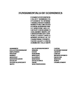 FUNDAMENTALS OF ECONOMICS WORD SEARCH
