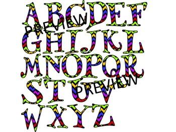 FUNKY CHEVRON ALPHABET CLIP ART- SET 1- 52 LETTERS CLIP ART (CU)
