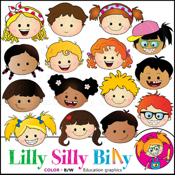 FUNKY FACES Clipart. BLACK AND WHITE & Color Bundle. {Lilly Silly Billy}