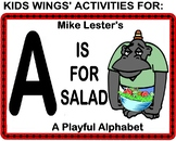 FUNNY ALPHABET BOOK!  A IS FOR SALAD by Mike Lester   Kids Wings Activities!