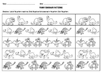 funny dinosaur patterns by callie redden teachers pay teachers. Black Bedroom Furniture Sets. Home Design Ideas
