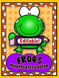 FUNNY FROGS & PENCILS { editable } NAMEPLATES, LOCKER TAGS & LABELS