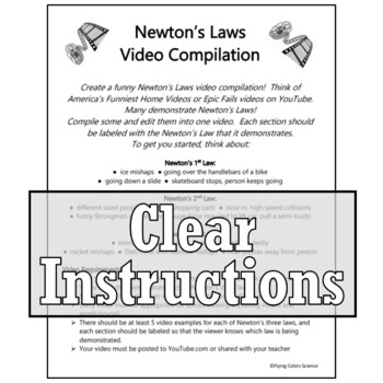 FUNNY Newton's Laws Video Project NGSS MS-PS2-1 MS-PS2-2
