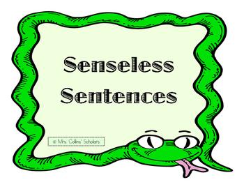 FUNNY Senseless Sentences Center Activity For Literacy