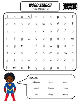 FUNdational Phonics - Trick Words Level 1 Word Searches
