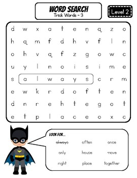 FUNdational Phonics - Trick Words Level 2 Word Searches