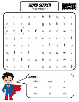 FUNdational Phonics - Word Searches (Glued Sounds, Trick Words Level 1, 2, 3)