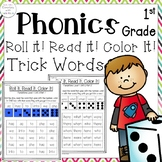 First Grade Roll it, Read it, Color it! Practice reading sight/trick words!